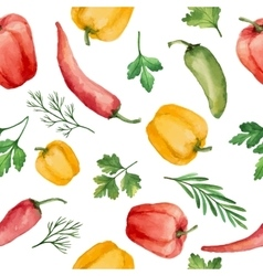 Seamless pattern with watercolor vegetables vector