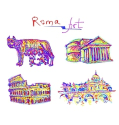 Set famous place of rome italy original drawing in vector