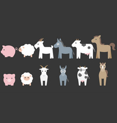 set of animal farm elements for graphic info vector image vector image