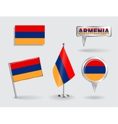 Set of armenian pin icon and map pointer flags vector