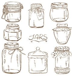 Set of isolated mason jars vector