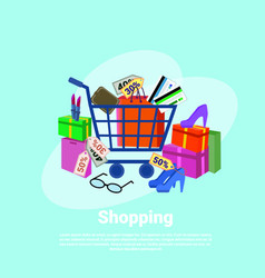 Shopping baner concept with trolley cart clothes vector