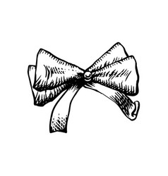 sketch bow with ribbon isolated hand drawn vector image