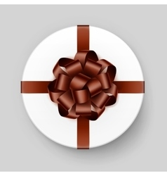 White gift box with brown bow and ribbon vector