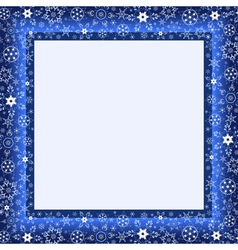 Winter blue frame with snowflake vector image vector image