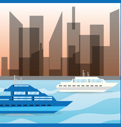 Yacht navigating in the ocean near the city vector