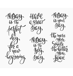 Positive life inspiration quotes lettering set vector