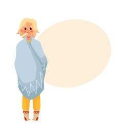 Blond young woman having flu with thermometer in vector