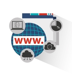 Big data center flat icons vector