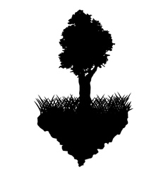 Grass and tree plant silhouette design vector