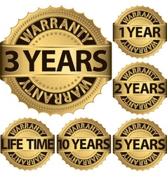 Warranty golden label set vector image