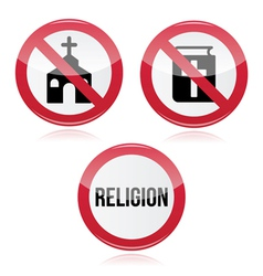No religion no church no bible red warning sign vector