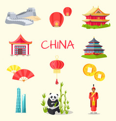 china inscription and traditional things set vector image
