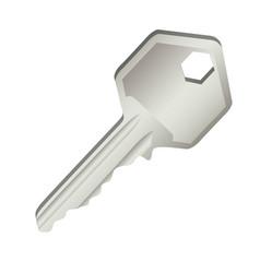 3d realistic metal key icon design vector image