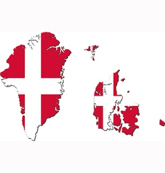 Map of denmark with greenland and faroe islands vector