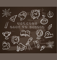 back to school on chalk blackboardwith hat vector image
