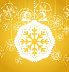 Yellow christmas greeting card vector