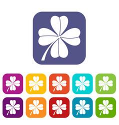 Four leaf clover icons set vector