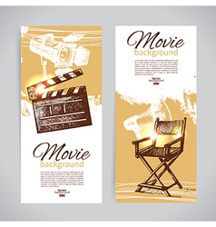 Hand drawn sketch set of cinema banners vector