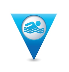 swiming icon map pointer blue vector image