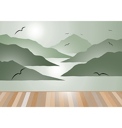 Island view with wooden floor background vector