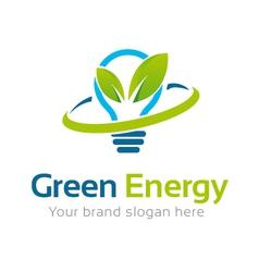 Green energy logo template vector