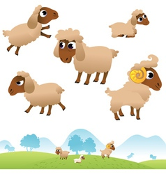 Landscape and set of sheep and lambs vector