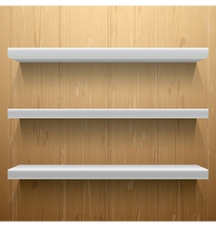 White shelves on wood background vector