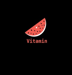 Piece of watermelon icon labeled vitamin vector