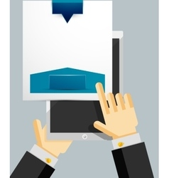 Businessman hands on mobile tablet with web dialog vector