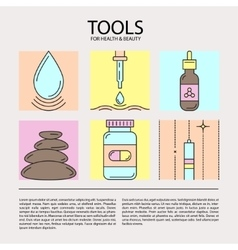 Set of icons of beauty and health tools vector