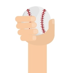 Hand with classic baseball icon vector