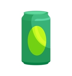 Green aluminum can icon cartoon style vector