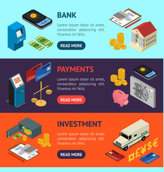 bank banner horizontal set isometric view vector image
