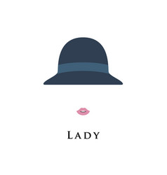 beautiful lady in hat portrait isolated on white vector image vector image