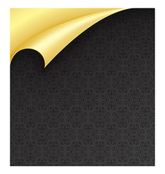 Black Paper with Vintage Texture and Curled Golden vector image vector image