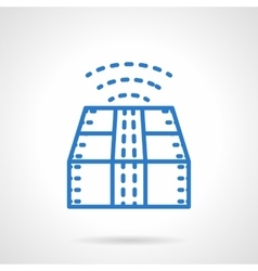 Blue line style package tracking icon vector