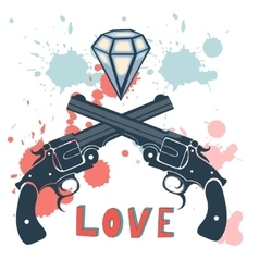 Classic revolvers and diamonds emblem vector image
