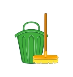 Cleaning broom and trash bin icon cartoon style vector