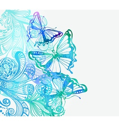 Colorful background with butterfly and floral vector image vector image