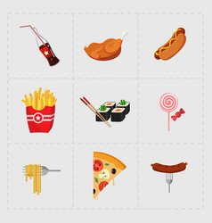 Colorful fast food icon set on white background vector