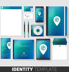 Corporate stationery design template flat design vector