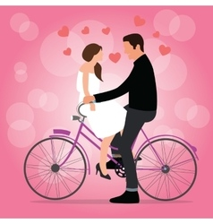 Couple on bicycle fall in love pink background vector