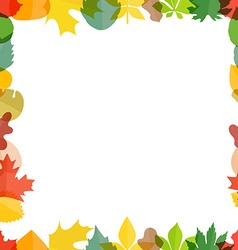 Different color autumn leaves greeting frame vector