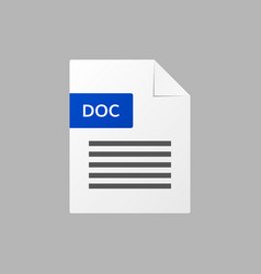 doc text document doc file format icon vector image vector image