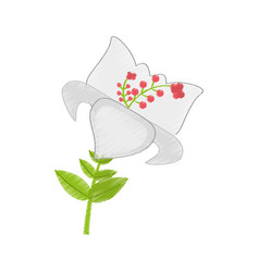 Drawing day lily flower branch decoration vector