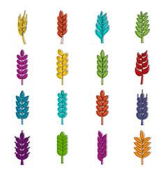Ear corn icons doodle set vector