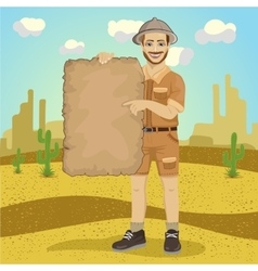 explorer young man with safari hat vector image
