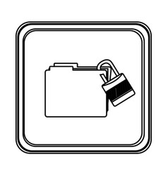 figure emblem file with lock icon vector image