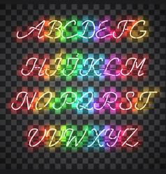 Glowing multi colors neon uppercase script font vector